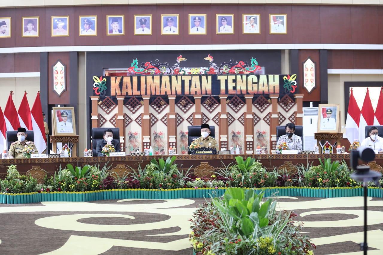 Gubernur Jelaskan Kondisi Pencegahan Korupsi Terintegrasi di Wilayah Kalteng saat Rakor Pencegahan Korupsi Bersama KPK